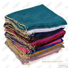 New trends high fashion muslim shawl modest plain scarf voile cotton pearl hijab