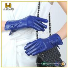 Blue Short Fashion Women Gants en cuir Premuim Gants en peau de mouton Lady Style