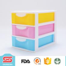 três camadas 4 cores caixa de armazenamento de gaveta de plástico com alta qualidade