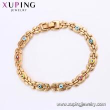 75187 Xuping haut grade coloré œil mal bracelet en or chaîne sans bijoux en imitation de pierre