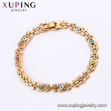75187 Xuping top grade colorful evil eye gold chain bracelet without stone imitation jewelry