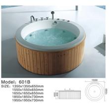 bañera de madera, caminar en porcelana de bañera, bañera de barril de madera