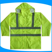 long sleeve high visibility safety raincoat, water proof reflective jackets