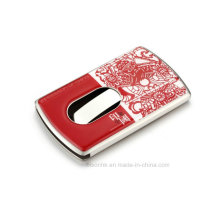Schöner Metall Visitenkartenhalter mit Emaille Logo