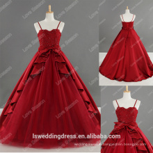 LS0187 100% real picture lace appliqued beaded red corset prom dress spaghetti straps ruffled tea satin floor length girl dress
