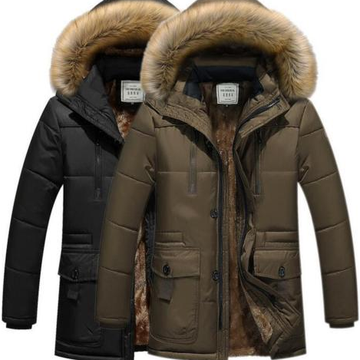 Hot Mens Fell Kapuze verdicken warme Parka Mantel