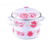 enamel steamer pot with full decal&ceramic knob