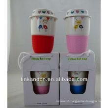 KC-01221 ceramic cup ,ceramic cup silicon lid