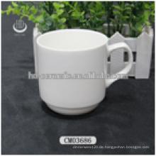 Keramik billige Kaffeetassen, weißer keramischer Becher, leerer keramischer Becher Großverkauf