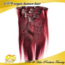 Meistverkaufte Produkte 100% unverarbeitete Jungfrau Peruanisches Haar # 99j Vollen Kopf Farbige Clip In Haarverlängerung