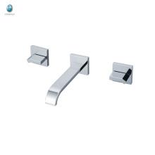 KI-20 salle de bains de conception spéciale avec double poignées carrées chrome poli mitigeur de douche baignoire en laiton poli
