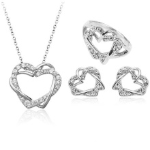 Double Heart Jewelry Set 925 Sterling Silver Jewelry