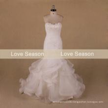 MRY072 Strapless sleeveless real layers organza wedding dresses ruffle wedding dress patterns feathered mermaid wedding gowns