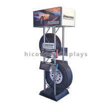 Tyre Retail Shop Interior Design Floor Standing Metal Automotive Store Car Wheel Tire Display Stand