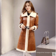 Damen Lammleder und Shearling Coat Long Style