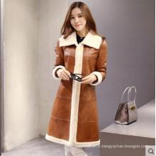 Manteau long en cuir d'agneau et en peau de mouton