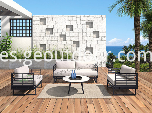 PE wicker aluminium garden sofa funiture