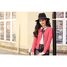 Women′s Cashmere Cardigan with Round Neck