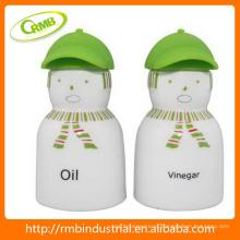 Óleo e vinagre com tampa de silicone, decalque verde