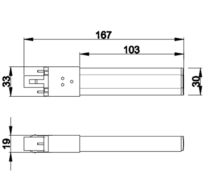 PL-G23-12-6W G23 LED Tube size