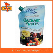 food packaging guangzhou supplier ziplock reusable drink pouch with spout for fruit juice