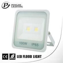Luz de inundação alta branca do diodo emissor de luz da ESPIGA do lúmen 70-80lm / W do COB do refletor 100W do projeto novo