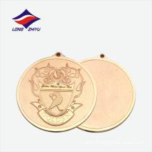 Médaille en métal doré ronde en alliage de zinc avec ruban