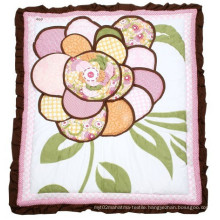 Baby Patchwork Quilt with 3D Flower Embroidery Lovely for Baby Girl
