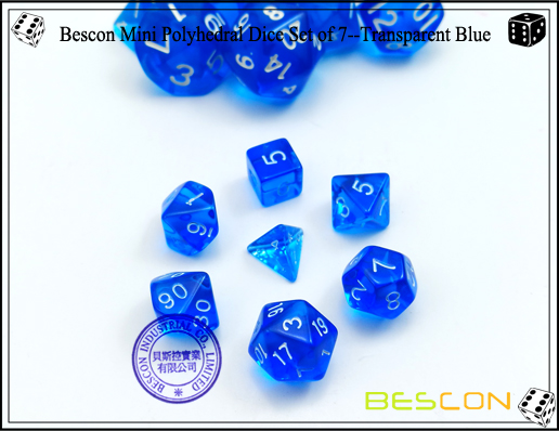 Bescon Mini Polyhedral Dice Set of 7--Transparent Blue-1