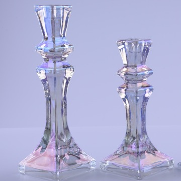 Luster Taper Candle Holders In Glass