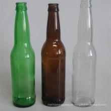 Botella de cerveza de vidrio de color ámbar redonda de primera calidad