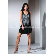 Knit Rayon Printing Beaded Fashion Women Mini Dress