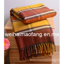 Woven Woolen Fringed Pure Virgin Wool Throw (NMQ-WT044)