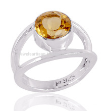 Wholesale Jewellery Natural Citrine Cut Gemstone 925 Sterling Silver Ring