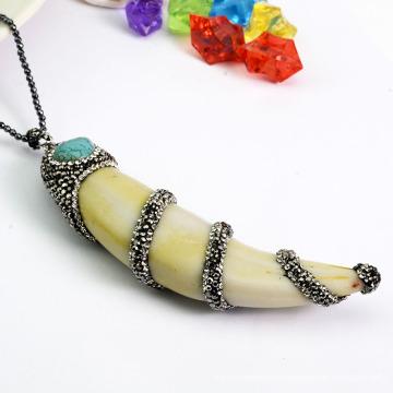 Joyería al por mayor de la manera colgante natural del caracol de la concha / del mar con el Rhinestone cristalino pavimentado