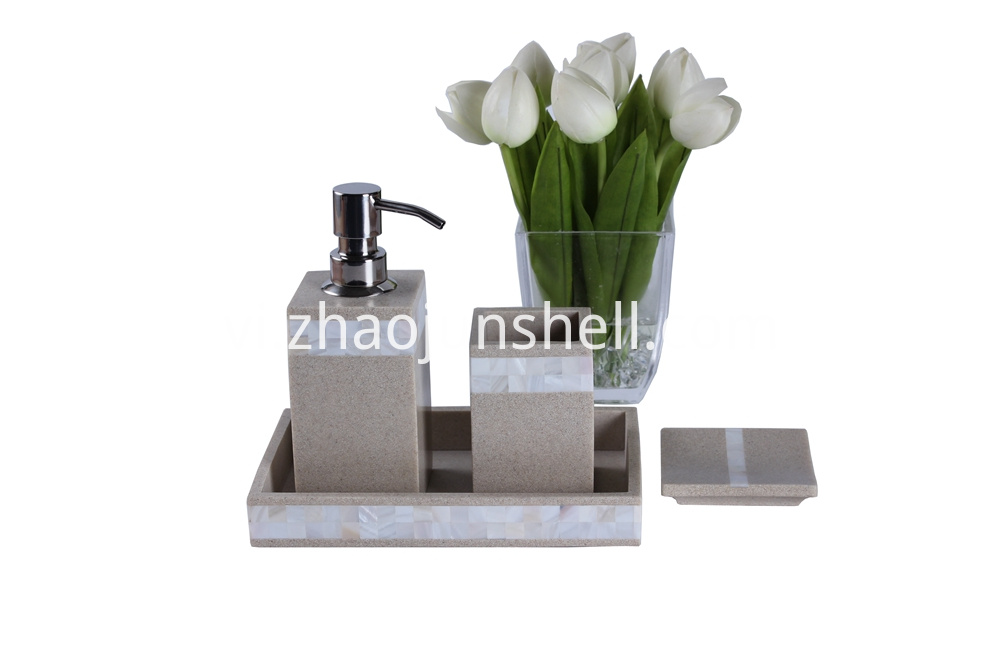 Sandstone Resin Bathroom Accessory Sets for Hotel