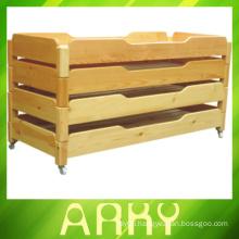 Hot Sale ! Kindergarten Wooden Children Bed Stackable