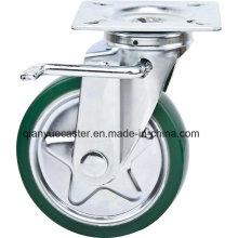 Roulette pivotante / frein de 6 pouces de haute qualité avec roulette de roulette en caoutchouc en acier, style Janpanois