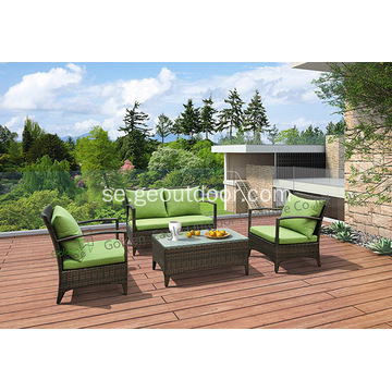 UV-resistent Wicker Garden Furniture Soffa Set