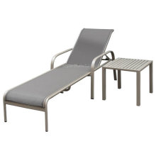 American Garden Daybed with Side Coffee Table Taupe Aluminum Sling for Hotel Outdoor Deck