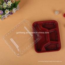 Plateau en plastique de restauration rapide adapté aux besoins du client de restaurant (récipient de nourriture de pp)