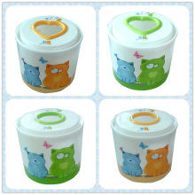 Fashionable Style Round Tissue Box with Cartoon Printing (FF-0222)