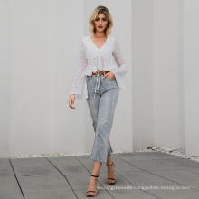 WEIXIN New Arrival Ruched Detail Knotted Ruffle Puff Sleeve Hem Dot Crop Top Women Clothing