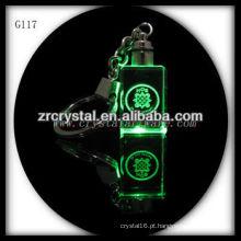 Chaveiro de cristal LED com imagem 3D gravado a laser dentro e em branco chaveiro de cristal G117