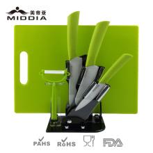 Kitchen Tools Ceramic Knives Set com tábua de cortar