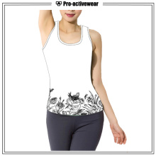 Women Sports Wear Polyester Spandex White Color Tank Top