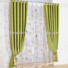 China Modern Butterfly Bead Curtain Green Linen Curtain for Living Room