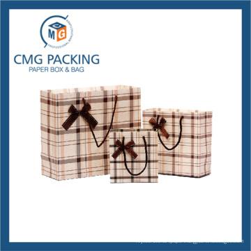 Grid Printed Paper Gift Packing Bag