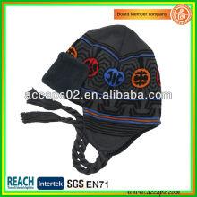 Children winter beanie hat with braid BN-0058