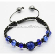 Jóia 2013 batida, handmade tecido shamballa pulseira de esferas de cristal